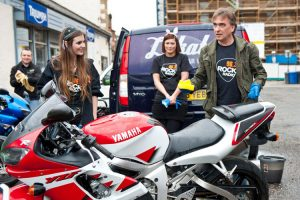 Triumph Glasgow Rock Radio charity bike wash 10