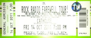 Rock Radio farewell gig ticket, The Cathouse, Glasgow 14.10.11
