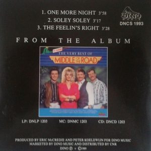Middle Of The Road - One More Night CD back cover 89