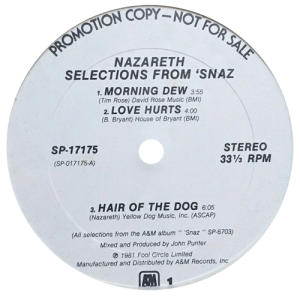 "Selections From Snaz 12"" A&M promo side 1 11"