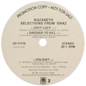 "Selections From Snaz 12"" A&M promo side 2 81"