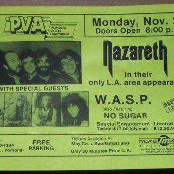 Pomona Valley Auditorium, Pomona CA flyer 28.11.83