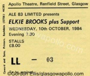 Elkie Brooks, Apollo, Glasgow ticket 10.10.84