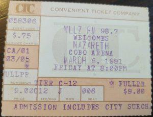 Cobo Arena, Detroit MI ticket 6.3.81