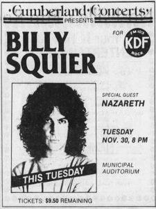 Municipal Auditorium, Nashville, TN advert 30.11.82