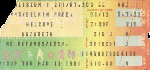 Richfield Coliseum, Cleveland, OH ticket 12.3.81