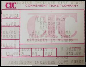 Joe Louis Arena ticket 31.10.81