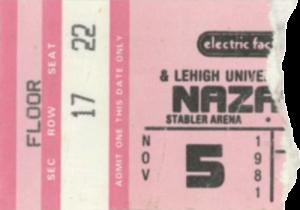 Stabler Arena, Bethlehem, PA 5.11.81 ticket (1)