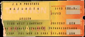Aragon Ballroom, Chicago, IL ticket 13.11.81