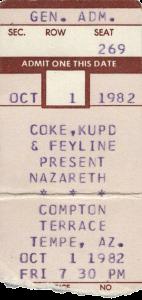Compton Terrace, Tempe, AZ 1.10.82 ticket